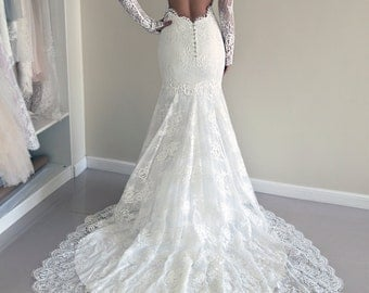Lace Wedding Dress, Custom Made Wedding Dress, Trumpet Silhouette Wedding Dress, Open Back Lace Dress, Hourglass SIlhouette Wedding Gown