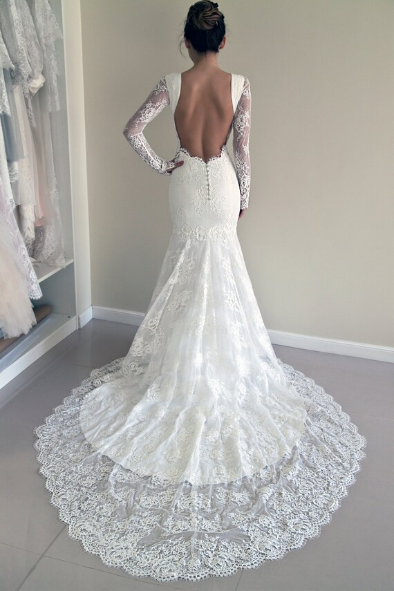 Lace Wedding Dress Custom Made Wedding Dress Trumpet