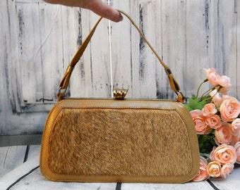 Unique Vintage 50s CORBEAU Pony Hair Kisslock Handbag ~Leather Lined ~Frame bag