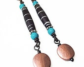 FINAL CLEARANCE! Tribal Dangle Earrings, Copper, Bone and stone earrings, Natural beads, Boho Tribal Ethnic style jewelry