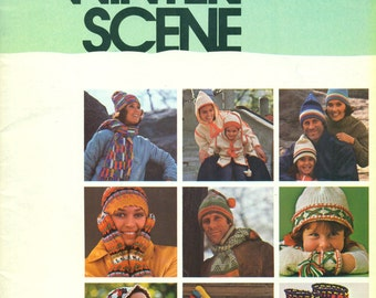 WINTER SCENE Bear Fleisher Vol 89 Knit Crochet Hat Mittens Gloves Scarf Boots Jacket MORE Bucilla Bear Brand Fleisher 1970s