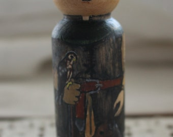 Wood Peg Doll Prince (falconer) - watercolored large size 3.5""