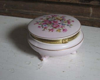Porcelain Footed Trinket Jewelry Box Floral Roses Motif