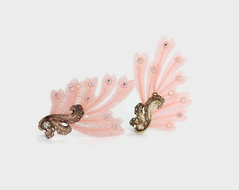 Vintage 50s FEATHER EARRINGS / 1950s Dramatic Oversized Pink Plastic Novelty Rhinestone Clip Ons
