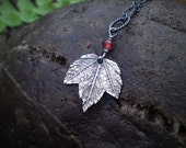 Acer - Tiny Maple Leaf - Garnet - Fine Silver Real Botanical Leaf Pendant  by Quintessential Arts