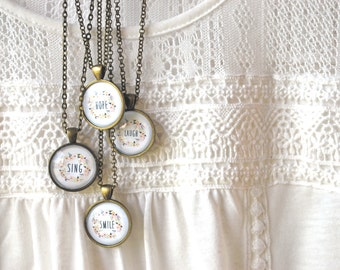 Motivational Necklace Set - Hope, Laugh, Sing, Smile - Positive Jewelry - Inspirational Necklace - Inspirational Jewelry