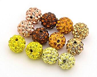 6 Rhinestone Beads Stunning with Inset Rhinestones 10mm Balls Disco Pave - BD029