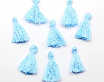 5 Mini Tassels 25mm to 30mm Cotton Perfect for So Many Projects Pale Blue - Z140