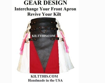 Interchangeable Utility Kilt Front Apron Sold Separately - Gear Design - Black Leather with Red Cloth V BDSM Front Apron
