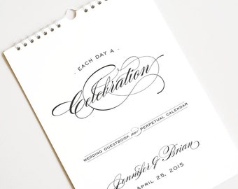 Large Wedding Guest Book Alternative, Perpetual Birthday Calendar, Personalized // ELEGANCE