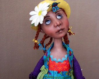 Regina the Butterfly Whisperer: cloth and clay art doll by Jan Conwell