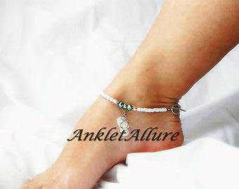 Beach Anklet Feet Shell Flip Flop Ankle Bracelet Cruise Vacation Anklet Ocean Blue Crystal Anklet Pink Freshwater Pearl Ankle Bracelet
