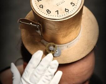 Time Traveler:  Unique Ladies Steampunk Fascintor Top Hat - Unique Tapered Design with Vintage Elements