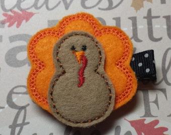 "Thanksgiving ""Happy Turkey"" - Orange - Felt Clippie Hair Clip - For Infant Toddler Girl"