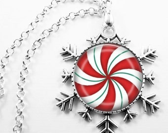 Christmas Necklace Christmas Jewelry Glass Tile Necklace Glass Tile Jewelry Red Jewelry Holiday Necklace Holiday Jewelry Snowflake Jewelry