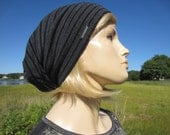 OMG Soft Cashmere Hat Slouchy Beanies for Women BOHO Clothing Black / Gray Striped Lightweight Tam by Vacationhouse A1694