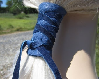 Leather Hair Wrap Ponytail Holder Hair Jewelry BOHO Bohemian Resort Wear Denim Blue Black Z101