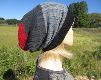 Women's Wool Hat Slouch Beanie Black Red Gray Striped Cable Knit Tam A1333