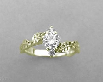 Leaf Engagement Ring, Leaves Engagement Ring, Leaf Ring, Leaves Ring, Forest Ring, Engagement Ring, Leaves Diamond Ring, Leaf Fantasy Ring