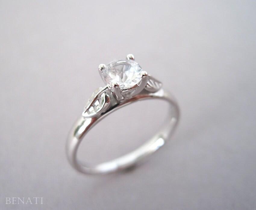 leaf engagement ring moissanite vintage ring antique gold