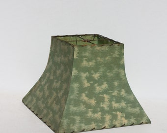 Mid Century Modern Parchment Lamp Shade Green Flared Square
