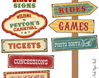 Vintage Circus Carnival Party Signs Large Signs, Instant Download, Print Your Own, You Can Customizable The Name