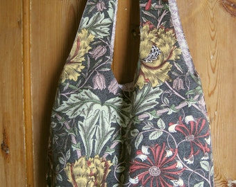 William Morris shoulder bag  - vintage linen mix - fully reversible, 2 styles, proceeds to charity