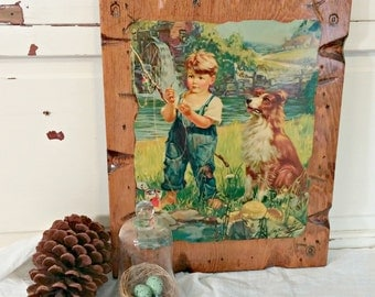 Vintage Wall Hanging | Boy and Dog Picture | HY Hintermeister