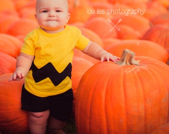 Charlie Brown Shirt Chuck Baby Tshirt Yellow Black Chuck Toddler Charlie Brown Kids Charlie Brown Shirt Halloween