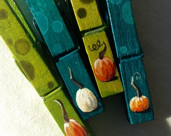 PUMPKIN CLOTHESPINS teal and green hand painted magnetic pegs