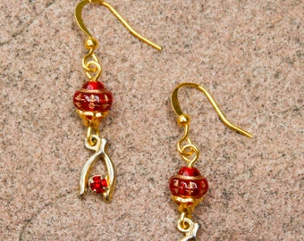 Crimson Red and Gold Wishbone Charm Earrings - Vintage, Rhinestone, Good Luck