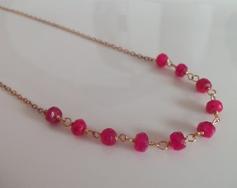 Natural Ruby Gemstone Handmade Necklace Wire Wrapped with 14kt Gold Fill Jewelry