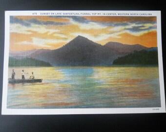 Sunset on Lake Santeetlah, Funnel Top Mt. in Center, Western North Carolina Vintage Postcard