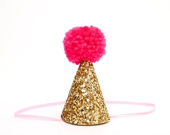 Mini Party Hat ||  Gold Sparkly Glitter with Large Neon Pink Handmade Pom Pom || Birthday Hat, Half Birthday Hat