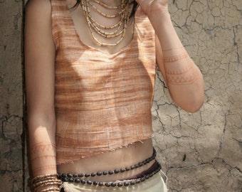 Sleeveless Top~Khadi Cotton~frayed bottom