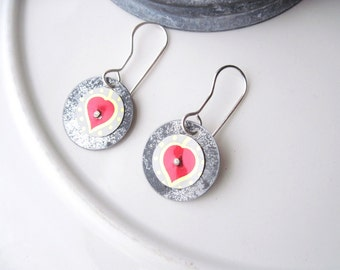 Heart Tin Double Disc Earrings 2: Vintage Tin-Lightweight- Ready To Ship