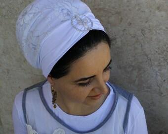 Lycra tichel,pre tied,head coverings,israeli tichel,hair cover,hair scarf, haarband,sinar look by oshratDesignz
