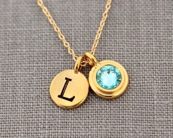 Personalized Mothers Necklace,  Gold Initial Necklace, Personalized Godl Jewelry, December Blue Zircon, Custom Initial Necklace