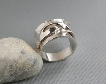 """Hammered Silver """"Ribbon"""" Ring Wide Band Modern Design"""
