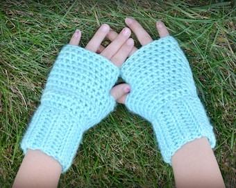 Crochet Fingerless Gloves - 3 sizes available - Robin's Egg - MADE TO ORDER