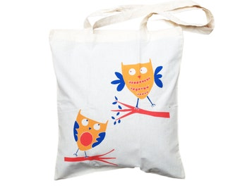 Owl tote bag - new mom gift - woodland creature, beach bag, birthday present, tote bag for owl lovers,