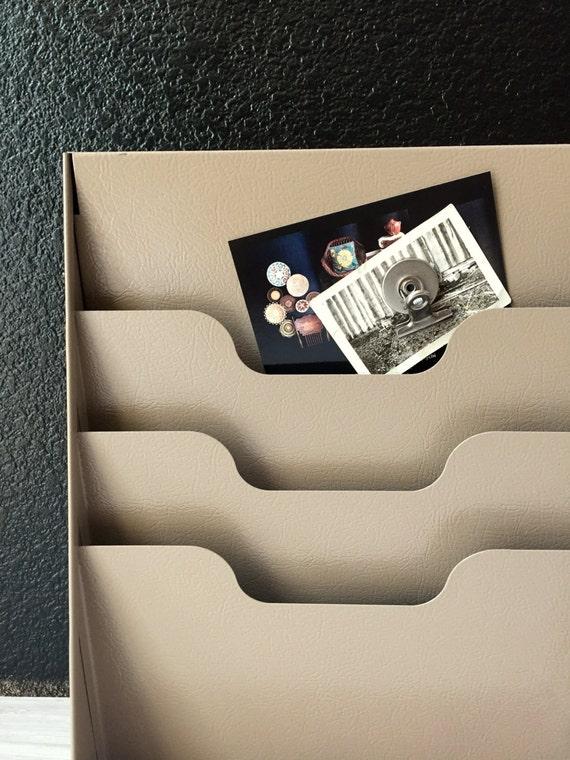 vintage tan industrial metal office wall paper file / vertical file storage / sorter / mail