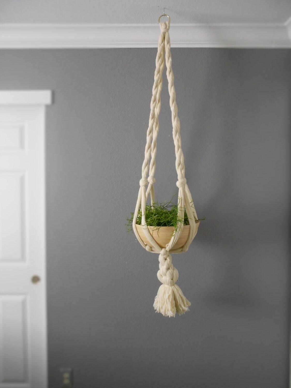 long white hanging macrame plant holder indoor plant hanger. Black Bedroom Furniture Sets. Home Design Ideas