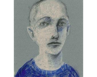 Portrait Man original drawing illustration pastel figurative people face