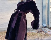 espresso brown faux fur faux leather belted winter coat petite fit mid century retro classic bohemian fur coat hippie cruelty free cozy warm