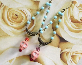 Day of the Dead Pink Skull Earrings with Vintage Beads