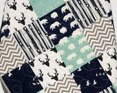 Baby Quilt, Boy, Navy Blue Grey Gray, Elk Deer, Woodlands, Forest, Birch, Modern Blanket, Chevron Bear Aztec, Crib Bedding, Toddler, Baby