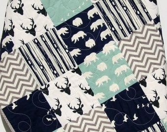 Baby Quilt, Boy, Navy Blue Grey Gray, Elk Deer, Woodlands, Forest, Birch, Modern Blanket, Chevron Bear Aztec, Crib Bedding, Toddler, Baby