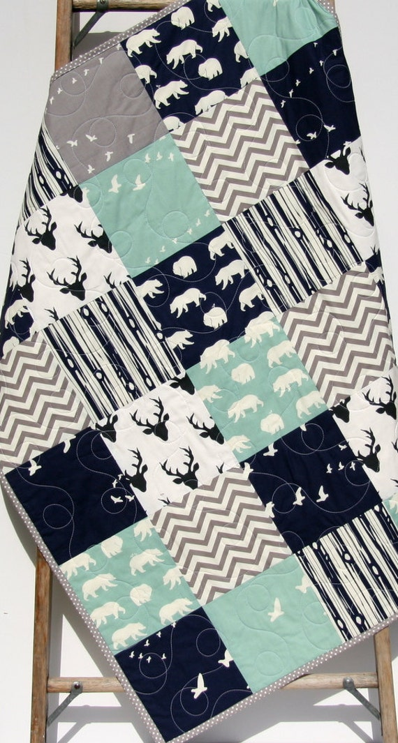 Baby Quilt Boy Navy Blue Grey Gray Elk Deer Woodlands
