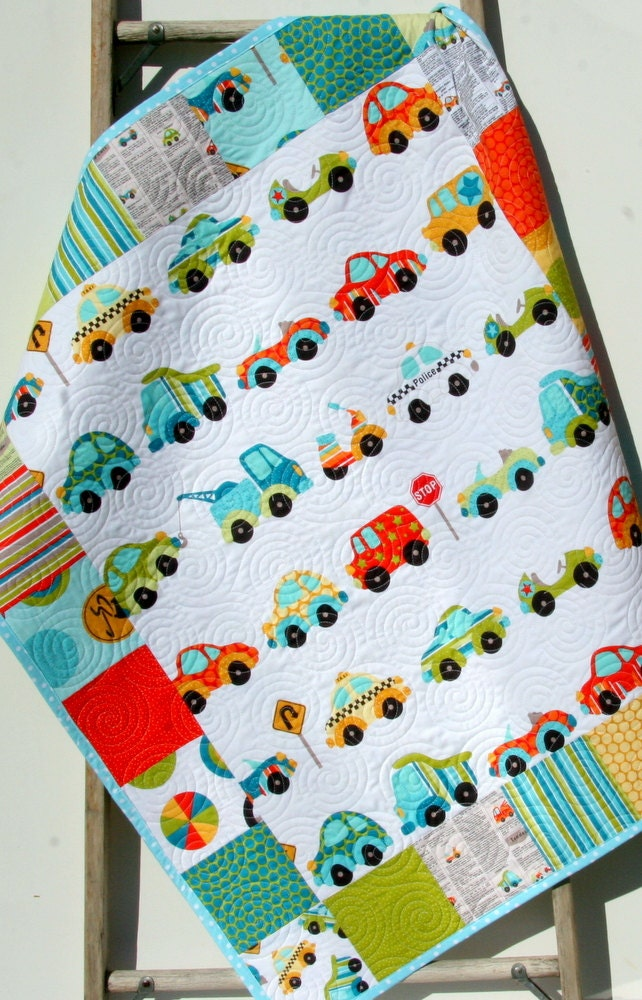 Peak hour boy quilt cars trucks vehicles teal aqua coral for Little blue truck fabric